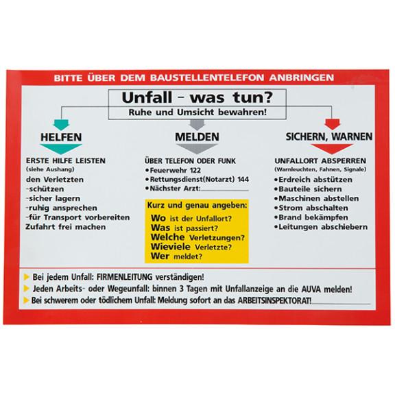 Aluschild 30x20cm, Notfall-Infotafel Unfall | www.rosa-moser.at